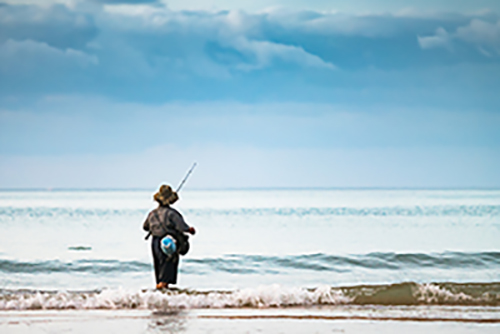 Pescador en mar